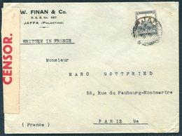 1940 Palestine Jaffa Finan & Co Censor Cover - Paris France - Palestine