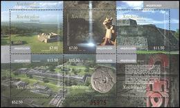 2015 MÉXICO ARQUEOLOGÍA PIRAMIDES  XOCHICALCO, ARCHAEOLOGICAL SITE PYRAMIDS Souvenir SHEET STAMP MNH - México