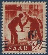 Sarre N°223A Papier Jaunatre ** 6fr Avec Valeur Très Déplacée Et Barres à Cheval TTB Signé - 1947-56 Occupation Alliée
