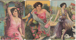 GREECE(chip) - Set Of 3 Cards, Painting/Folk Art, 05/99, Used - Télécartes