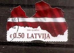 Latvia 2018 Mih. 1042 Map And Flag Of Latvia  Used - Lettland