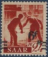 Sarre N°223A** Papier Jaunatre 6fr Avec 6 Et F Se Touchant + Valeur Très Déplacée Et Barres à Cheval TTB Signé - 1947-56 Occupation Alliée