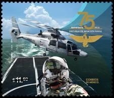 2018 MÉXICO 75 Aniv. De La Escuela De Aviación Naval MNH 75th Anniv Of The Naval Aviation School, NAVY HELICOPTER EAGLE - México