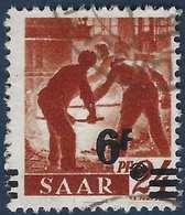 Sarre N°223 Obl Papier Blanc 6fr Avec 6 Et F Se Touchant + Valeur Très Déplacée Et Barres à Cheval TTB - 1947-56 Occupation Alliée