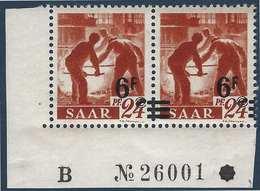 Sarre N°223** En Paire CDFeuille Numéroté Papier Blanc 6fr Valeur Très Déplacée Et Barres à Cheval TTB Signés - 1947-56 Occupation Alliée