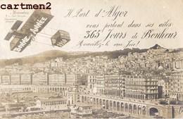 CARTE PHOTO : ALGER SOUVENIR PANORAMA AEROPLANE PHOTO MAISENDIEU AVIATION BONNE-ANNEE1910 ALGERIE - Alger