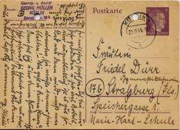 Allemagne Ent-Postal Obl Postkarte Adolf Hitler (cachet Rond) 2 Perforations Classeur - Allemagne