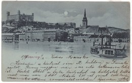 #Z.9474 Slovakia, Pozsony, Bratislava Postcard Mailed 1899: Night, Danube Rivershore, Ship - Slovaquie