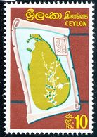 CEYLON 1969 10R Multicolored Map Of Ceylon SG500 MNH - Sri Lanka (Ceylan) (1948-...)