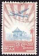 CEYLON 1959 75c Ultramarine & Orange Plane Over Ratmalana Temple SG360 FU - Sri Lanka (Ceylan) (1948-...)