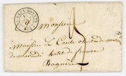BASSES PYRENEES LAC 1855 LES EAUX BONNES T15 TAXE 3 - Poststempel (Briefe)