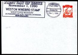 New Zealand Wine Post Cover With Orange Wine Bird Stamp. - Unclassified