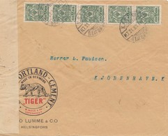 Finnland: 1915: Portland Cement-Tiger- Von Helsinki Nach Kopenhagen-Zensur - Finland