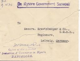 India 1930: Bangalore To Leipzig, On Mysore Government Service - Inde