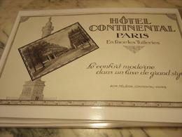 ANCIENNE PUBLICITE HOTEL CONTINENTAL PARIS EN FACE LES TUILERIE 1927 - Publicité