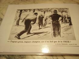 ANCIENNE PUBLICITE TOUJOURS CHAMPION APERITIF SUZE 1938 - Alcools