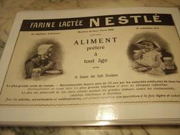 ANCIENNE PUBLICITE FARINE LACTEE NESTLE 1905 - Affiches