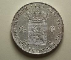 Netherlands 2 1/2 Gulden 1845 Silver - [ 3] 1815-… : Royaume Des Pays-Bas