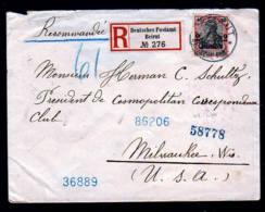 1907 - 2Pia. Auf Einschreibbrief Ab Beirut Nach USA - Transitstempel Port-Said - Bureau: Turquie