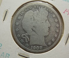 USA 1/2 Dollar 1908 D Silver - Federal Issues