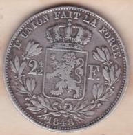 Belgique. 2 1/2 Francs 1848, Léopold Ier, En Argent , Rare - 10. 2 1/2 Francs