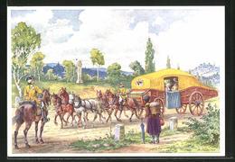 Künstler-AK R. Trache: Gelbe Kutsche Zwischen Dresden Und Leipzig Um 1770, Ganzsache PP122 C100 - Post & Briefboten