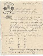 Facture 1897 / ESPAGNE CADIX / BERCY PARIS 4 Rue De Bercy / Vins Fins D'Espagne CONTE & Cie - Spain