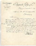 Facture 1897 / ESPAGNE REUS /  Vins D'Espagne Auguste GELY / Mozer 70 Champagney - Spain