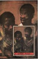 """Manama 1972  """"Due Negri"""" Quadro Dipinto Rembrandt Preobliterato Barocco Paintings Tableaux CTO Perf. - Emirati Arabi Uniti"""