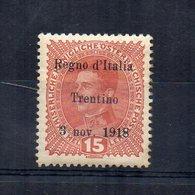 Italia -1918 - Francobollo Austriaco Sovrastampato Regno D'Italia Trentino 3 Nov. 1918 - Nuovo - Linguellato- (FDC14509) - Trentino