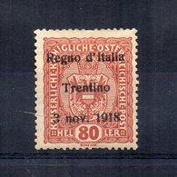 Italia -1918 - Francobollo Austriaco Sovrastampato Regno D'Italia Trentino 3 Nov. 1918 - Nuovo -Linguellato*- (FDC14510) - Trentino
