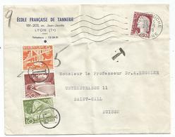 N° 1263 SEUL LETTRE LYON 1961   POUR SUISSE TAXE 5C+10C+20C - 1960 Marianne Of Decaris