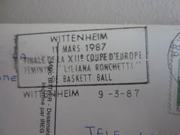 Carte Postale Avec Flamme Postale Finale Coupe D'Europe Ronchetti De Basket Ball Féminin à Wittenheim En 1987 - Sports