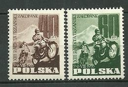 POLAND MNH ** 821-822 Course Motocycliste Internationale à Zakopane, Moto, Sport - 1944-.... Republik