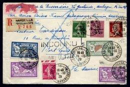 France LRec Pour L'Ile Maurice Affr. N° 207, 253 à 255, 123, 238, 240(2) Càd 16-2-29 - SUPERBE - Cartas