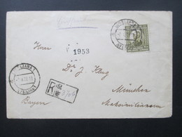 Jugoslawien 1922 Nr. 155 Randstück! Einschreiben  Ljubljana 1 Nach München.An Dr. J. Klug Im Maximilianeum - 1919-1929 Kingdom Of Serbs, Croats And Slovenes