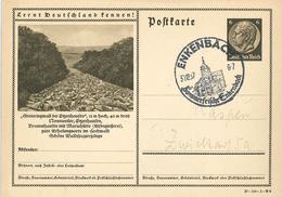Ganzsache 1937 Enkenbach Sommerfrische Lernt Deutschland Kennen: Steinringwall Nonnweiler Otzenhausen - Cartas