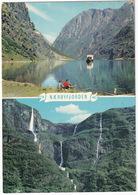 Gudvangen - The Naeroyfjord, Sogn, And 'The Bridal Veil / Brudesloret - Norge/Norway - Waterfall & Car-Ferry - Noorwegen