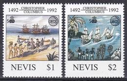 Nevis1992 Organisationen OECS Geschichte History Entdeckung Discovery Kolumbus Columbus Schiffe Ships, Mi. 686-7 ** - St.Kitts-et-Nevis ( 1983-...)