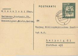 Ganzsache 1941 Radomsko Generalgouvernement Nach Leipzig - Occupation 1938-45
