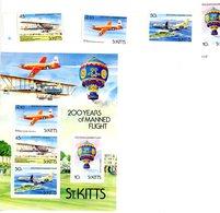 St Kitts 1983-Avions,montgolfière,Emission Commune-YT 546/49+B11 - Airships