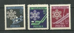 POLAND MNH ** 852-854 Championnats De Sports D'hiver Estudiantins, Patins à Glace, Cristaux De Neige, Cannes à Ski - 1944-.... Republik