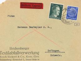 Brief Reichenberg Sudetenland Nach Zofingen Schweiz Zensur OKW Eilbote - Germany