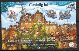 Bloc De 10 Vignettes De Noël Du Danemark 2018 Adhésives - Abarten Und Kuriositäten