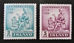 JON THORKELSSON 1959 - NEUFS ** - YT 292/93 - MI 331/32 - 1944-... Republik