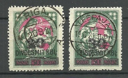 LETTLAND Latvia 1921 Michel 71 - 72 O Nice Cancels Riga & Leepaja - Lettland
