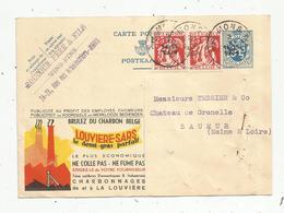 Entier Postal , Carte Publicitaire , 1934 , BELGIQUE-BELGIE , MONS , Charbon Louvière-Sars,   2 Scans - Entiers Postaux