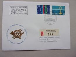 Suisse, Helvetia, Arts De La Côte D'ivoire Vevey 5 Fête De Gymnastique Navigation Sur Le Rhin Poste Bus - Brieven En Documenten