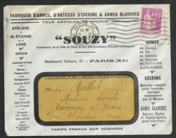 Enveloppe Illustrée Souzy Fabriques D'armes-Perforé-Ancoper SP 189 - France