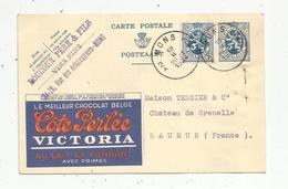Entier Postal , Carte Publicitaire , 1933 , BELGIQUE-BELGIE , MONS , Chocolat VICTORIA , 2 Scans - Entiers Postaux